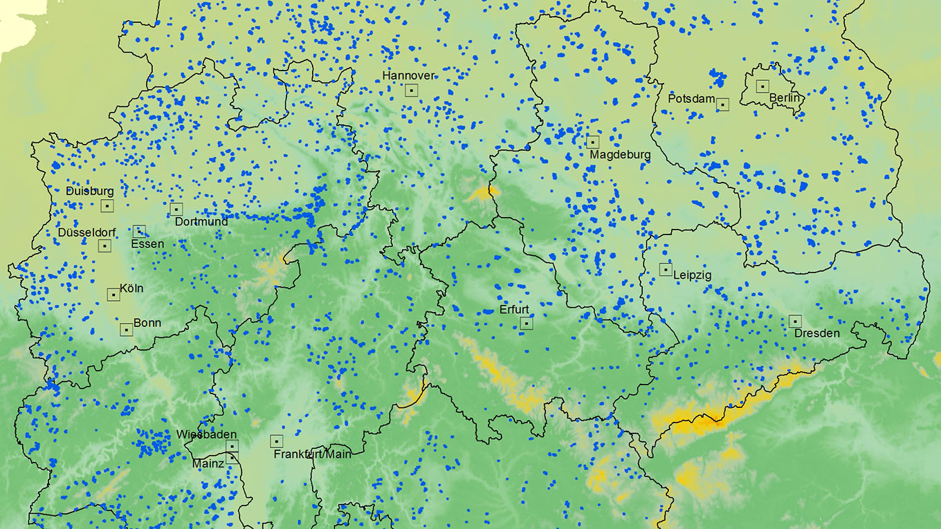 Windpark Deutschland (2017): More than 26,000 wind turbines (onshore), situated in geographically correct position