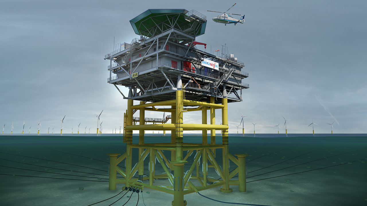 Visualisering av transformatorstationen för Anholts offshore-vindkraftpark