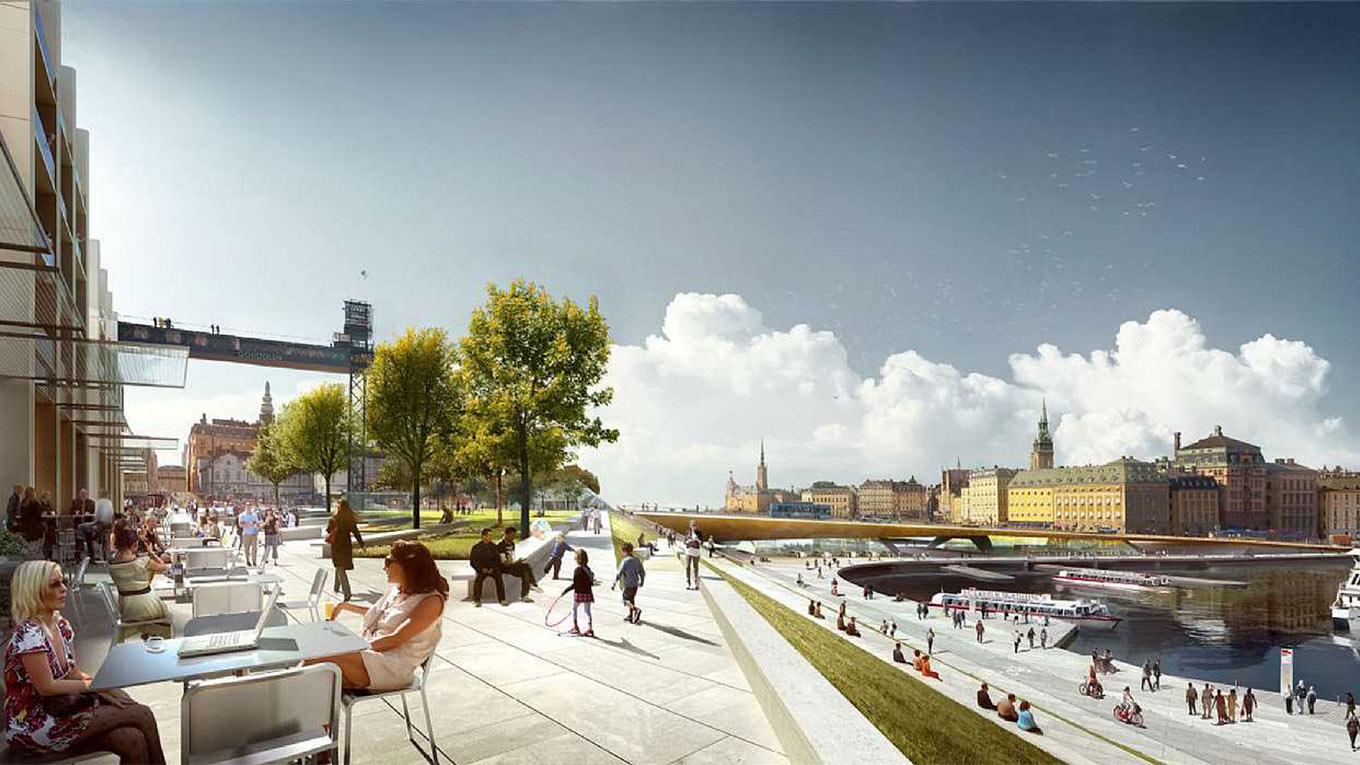 Illustration över nya Slussen. (C.F. Møller Architects in collaboration with Foster + Partners)